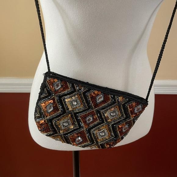 Vintage Harlequin design crossbody bag